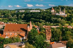 Vilnius, Lithuania. View Of Church Of St. Anne, Church of St. Francis and St. Bernard, Church Of Ascension And Church Of Stock Photography