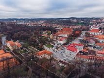 Vilnius, Lithuania, view of the old city, aerial drone panorama royalty free stock photos