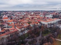 Vilnius, Lithuania, view of the old city, aerial drone panorama stock photos