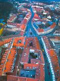VILNIUS, LITHUANIA - widok z lotu ptaka Vilnius stary miasto obraz royalty free