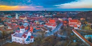 VILNIUS, LITHUANIA - widok z lotu ptaka Vilnius stary miasto obrazy royalty free