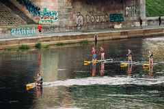 Vilnius, Lithuania. Young People Stand Up Paddling SUP Or Standup Stock Image