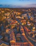 VILNIUS, LITOUWEN - hoogste satellietbeeld van de oude stad van Vilnius stock fotografie