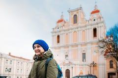 Vilnius, Litouwen Jonge mooie vrij Kaukasische meisjesvrouw stock foto's