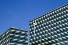 Vilnius, Litouwen - 29 Juni, 2016: De nieuwe Baltische bureaubouw van Noorse DNB-bank dichte omhooggaand Stock Afbeeldingen