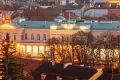 Vilnius, Litouwen: Luchtmening van Presidentieel Paleis royalty-vrije stock foto
