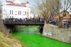 VILNIUS, LITOUWEN - MAART 18, 2017: Honderden mensen die van festiviteiten genieten en St Patrick ` s dag in Vilnius vieren Stock Fotografie