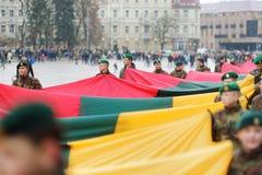 VILNIUS, LITOUWEN - MAART 11, 2017: Mensen die aan feestelijke gebeurtenissen als Litouwen deelnemen duidelijk de 27ste verjaarda Royalty-vrije Stock Afbeelding