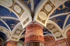 VILNIUS, LITUÂNIA - 29 DE DEZEMBRO DE 2016: Universidade de Vilnius - fresco de Petras Repsys foto de stock royalty free