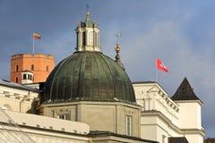VILNIUS, LITUÂNIA: A parte superior do palácio dos duques grandes de Lituânia com o castelo no monte de Gediminas no fundo imagens de stock
