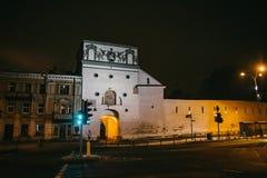 Vilnius, Lituânia: a porta do alvorecer, Ausros lituano, vartai de Medininku, Brama polonês de Ostra imagem de stock