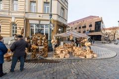 VILNIUS, LITUANIA - 4 MARZO 2017: Mercato di Kaziukas a Vilnius immagini stock libere da diritti