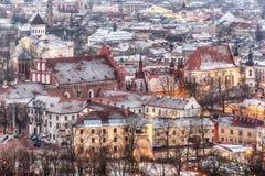Vilnius, Lituania: vista aerea di vecchia città nell'inverno Fotografie Stock