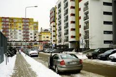 Vilnius miasta domy w Zirmunai Nord gromadzkim mieście Zdjęcie Stock