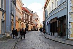 Vilnius miasta grodzka stara ulica na Wrześniu 24, 2014 Zdjęcia Royalty Free