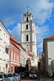 Vilnius miasta grodzka stara ulica na Wrześniu 24, 2014 Obraz Royalty Free
