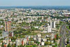 Vilnius miasta kapitał Lithuania widok z lotu ptaka Fotografia Royalty Free
