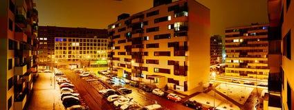 Vilnius miasta Pasilaiciai gromadzki widok przy nocą Obraz Stock