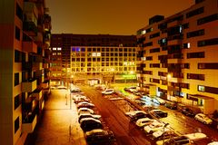 Vilnius miasta Pasilaiciai gromadzki widok przy nocą Zdjęcie Stock