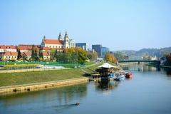 Vilnius miasta statku restauracja w Neris rzece Fotografia Royalty Free