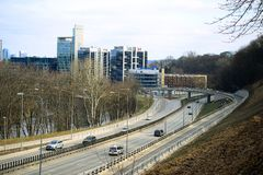 Vilnius miasta transport w Gelezinis Vilkas ulicie Obrazy Royalty Free