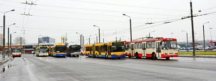 Vilnius miasta troleybuss w Zirmunai Nord gromadzkim mieście Obraz Royalty Free