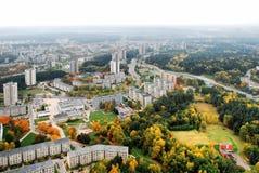 Vilnius miasta widok z lotu ptaka - Litewski kapitałowy ptasiego oka widok Zdjęcia Stock