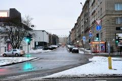 Vilnius miasta zimy ranku czasu Biała panorama Zdjęcia Royalty Free