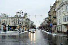 Vilnius miasta zimy ranku czasu Biała panorama Obrazy Stock