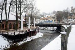 Vilnius miasta zimy ranku czasu Biała panorama Obrazy Royalty Free