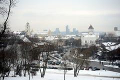 Vilnius miasta zimy ranku czasu Biała panorama Obraz Stock