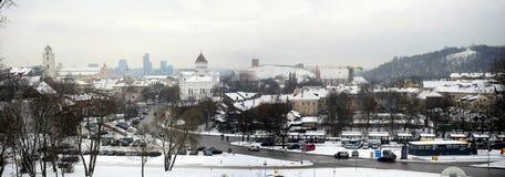 Vilnius miasta zimy ranku czasu Biała panorama Zdjęcie Royalty Free