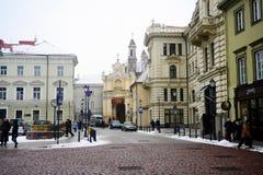 Vilnius miasta zimy ranku czasu Biały widok Obrazy Royalty Free