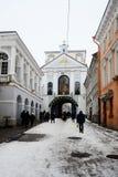 Vilnius miasta zimy ranku czasu Biały widok Fotografia Stock