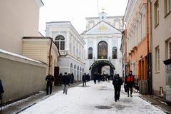 Vilnius miasta zimy ranku czasu Biały widok Zdjęcia Royalty Free