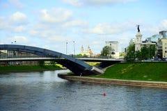Vilnius Mindaugas bridge over Neris river Royalty Free Stock Image