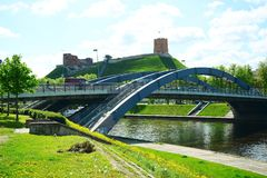 Vilnius Mindaugas most nad Neris rzeką Zdjęcia Royalty Free