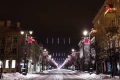 Vilnius nachts, Weihnachten Lizenzfreie Stockfotos