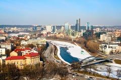 Vilnius and Neris stock photo