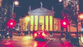 Vilnius night life, timelapse stock video