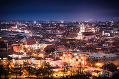 Vilnius at night. Vilnius old town lights at night Stock Photography