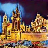Vilnius at night Royalty Free Stock Image