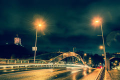Vilnius night. Night scene of Vilnius: Mindaugas bridge and Gediminas castle Royalty Free Stock Photography