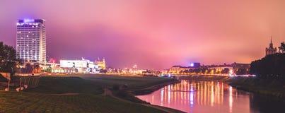 Vilnius night scene panorama Royalty Free Stock Photo