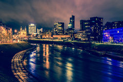 Vilnius night scene. The river Neris stock photography