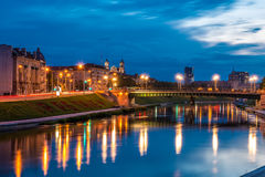 Vilnius at night. Vilnius night scene, River Neris bank, Lithaunia royalty free stock photography