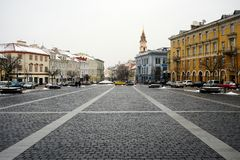 Vilnius old city center winter Town Hall Square view Royalty Free Stock Images