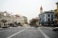 Vilnius old city center winter Town Hall Square view Stock Images