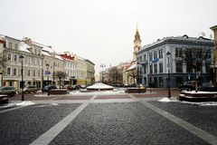 Vilnius old city center winter Town Hall Square view Stock Image