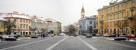 Vilnius old city center winter Town Hall Square view Royalty Free Stock Image